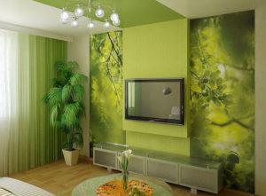 Гостиная в зеленом цвете: интерьер в зеленых тонах
