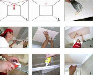 Клеевые потолки: своими руками это быстро и просто!
