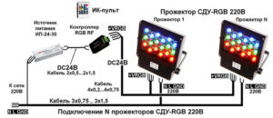 Подключение проводов от прожектора