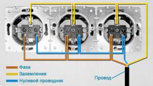 3 варианта подключения блока розеток