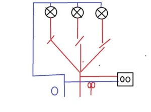 Как подключить 2 вентилятора и 1 лампочку к трёхклавишному выключателю?