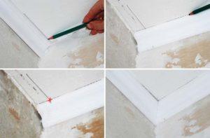 Как правильно обрезать потолочный плинтус